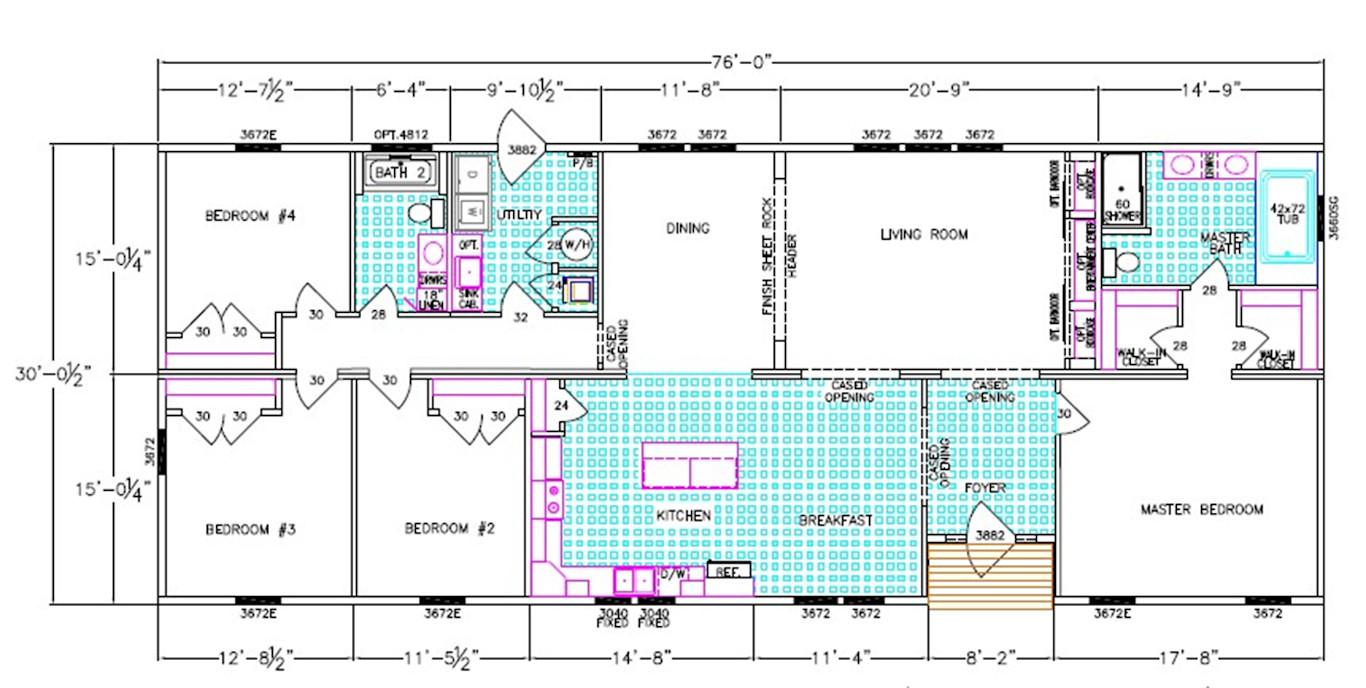 Acadia Dimensioned Floorplan