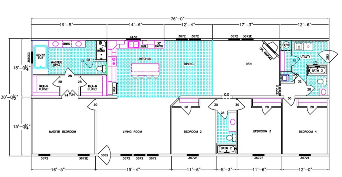 Covington Dimensioned Floorplan