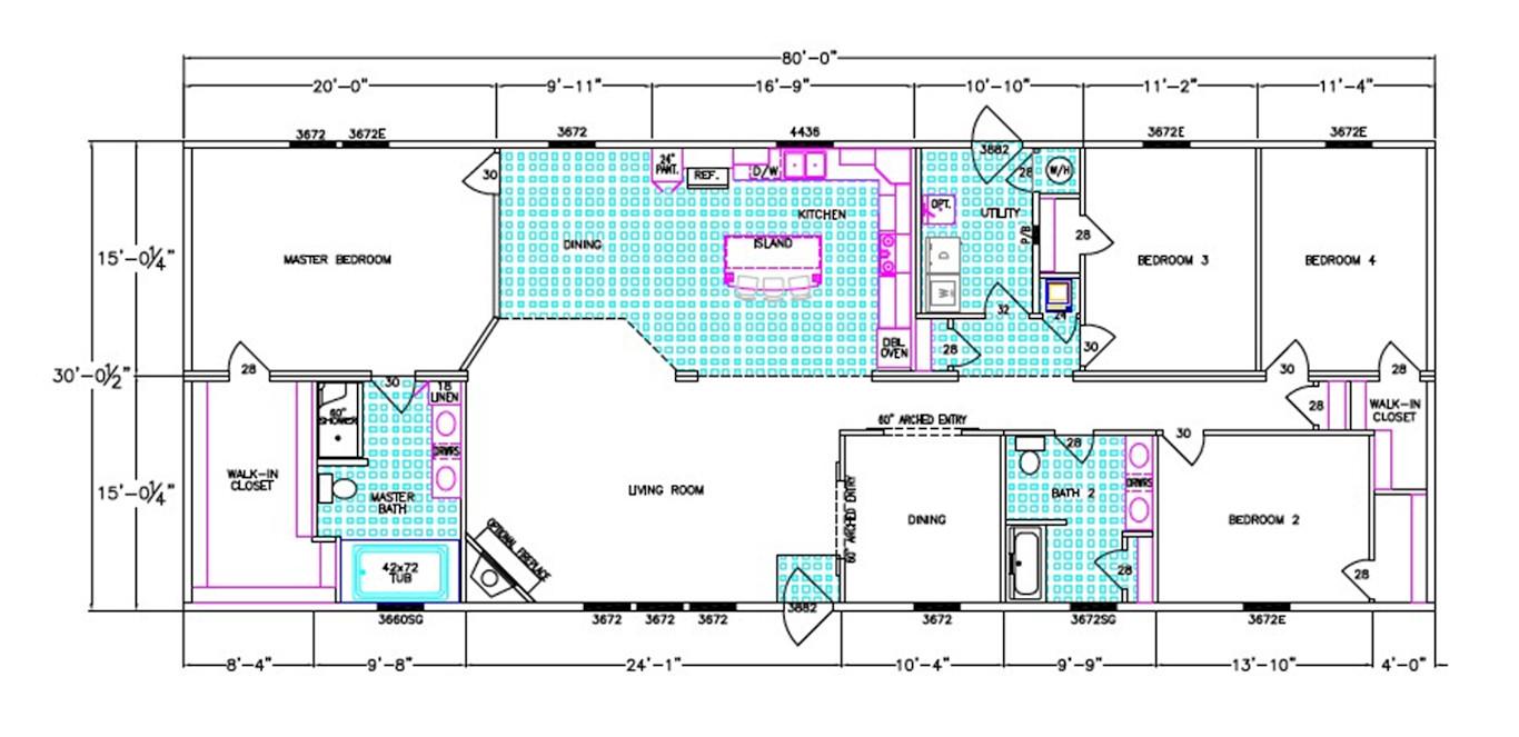 Lauderdale Dimensioned Floorplan