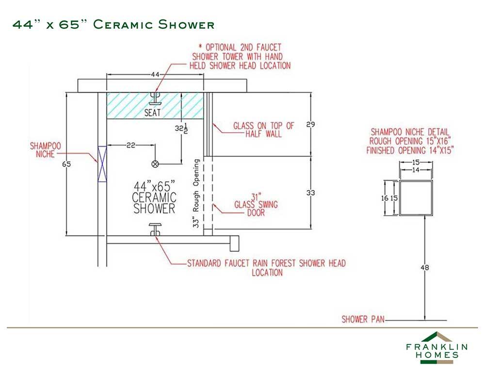 Ceramic Shower - 44x65 Inch