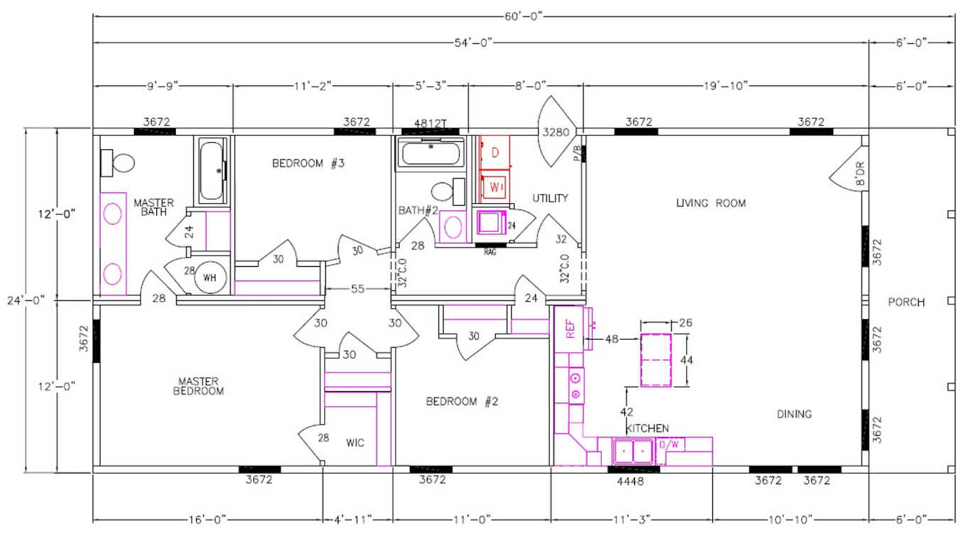 8031-64-3-26 Dimensioned Floorplan