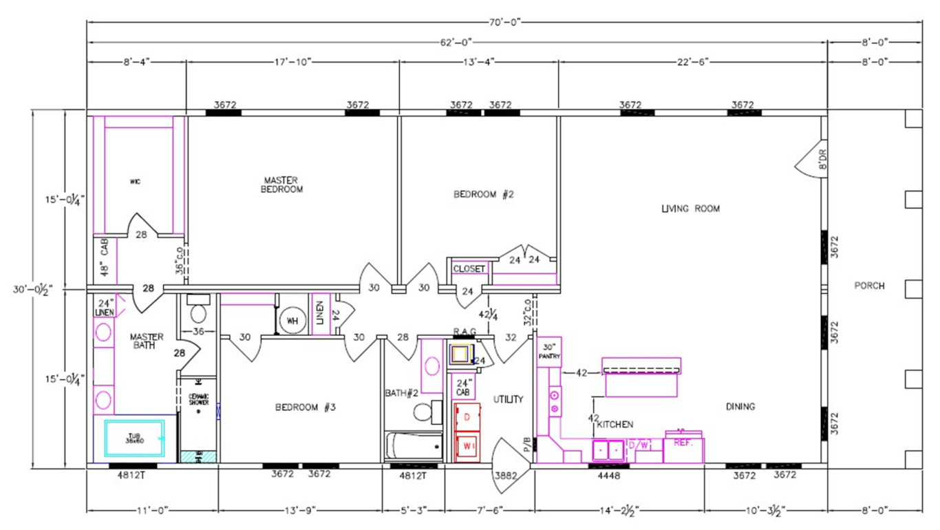 8008-74-3-32 Dimensioned Floorplan