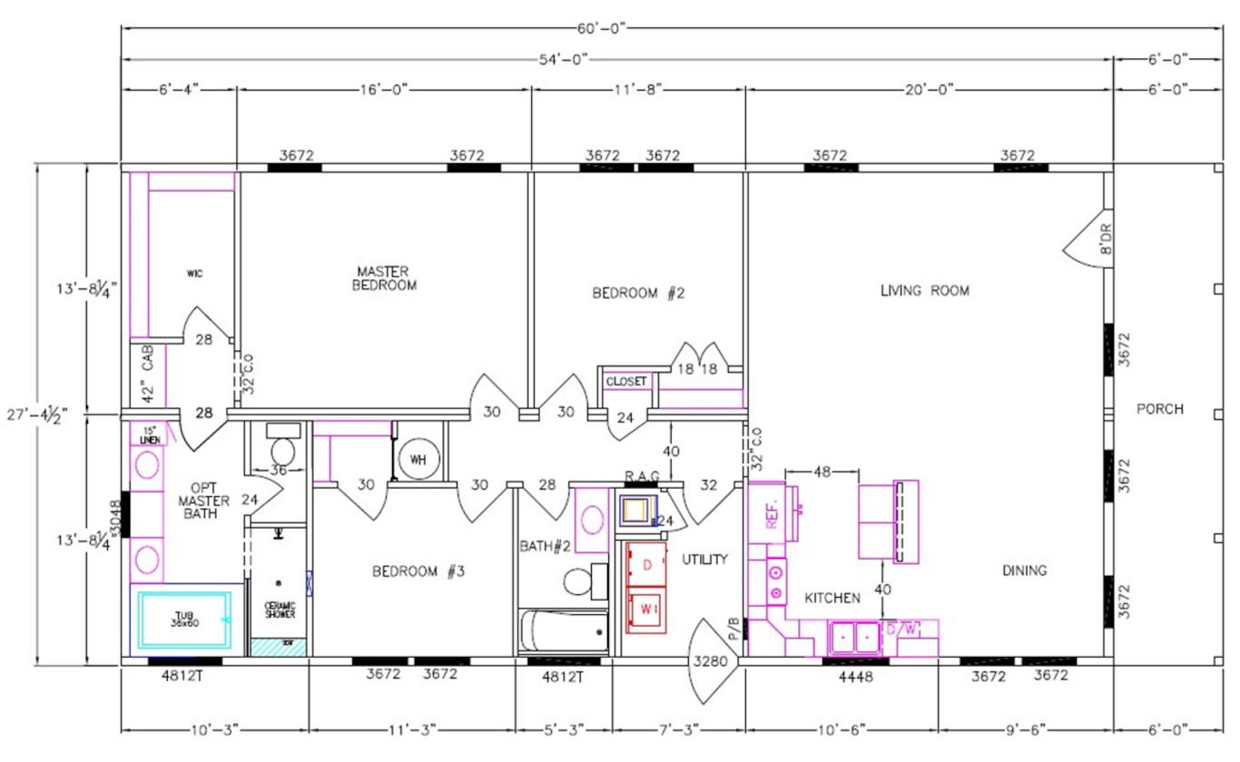 8018-64-3-30 Dimensioned Floorplan