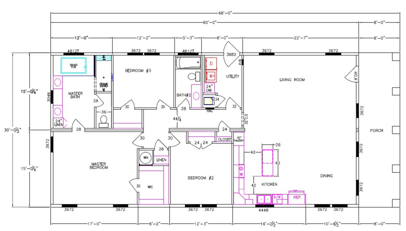 8007-72-3-32 Dimensioned Floorplan