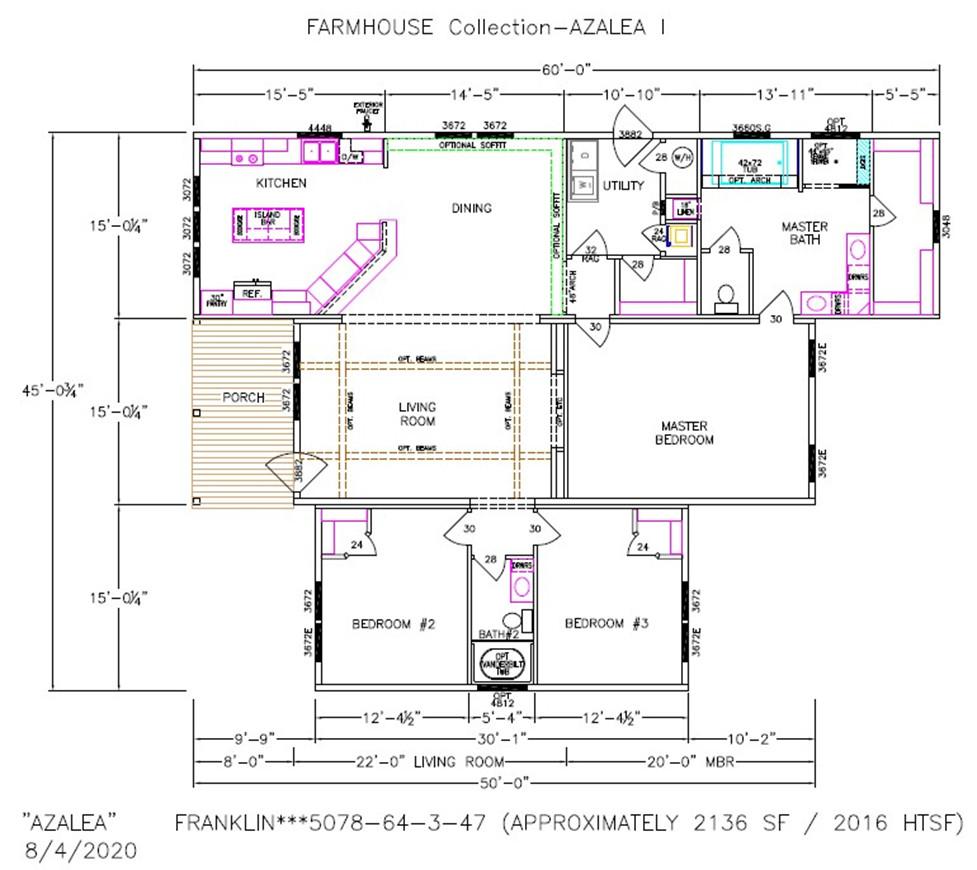 Azalea I Dimensioned Floorplan
