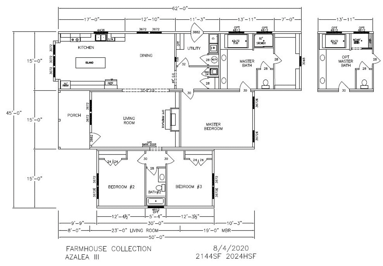 Azalea III Dimensioned Floorplan