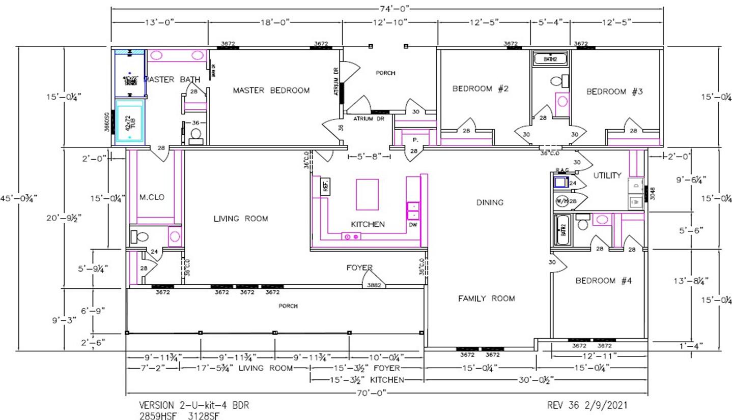 Cypress Lake II Dimensioned Floorplan