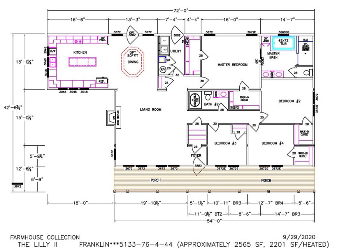 Lilly II Dimensioned Floorplan
