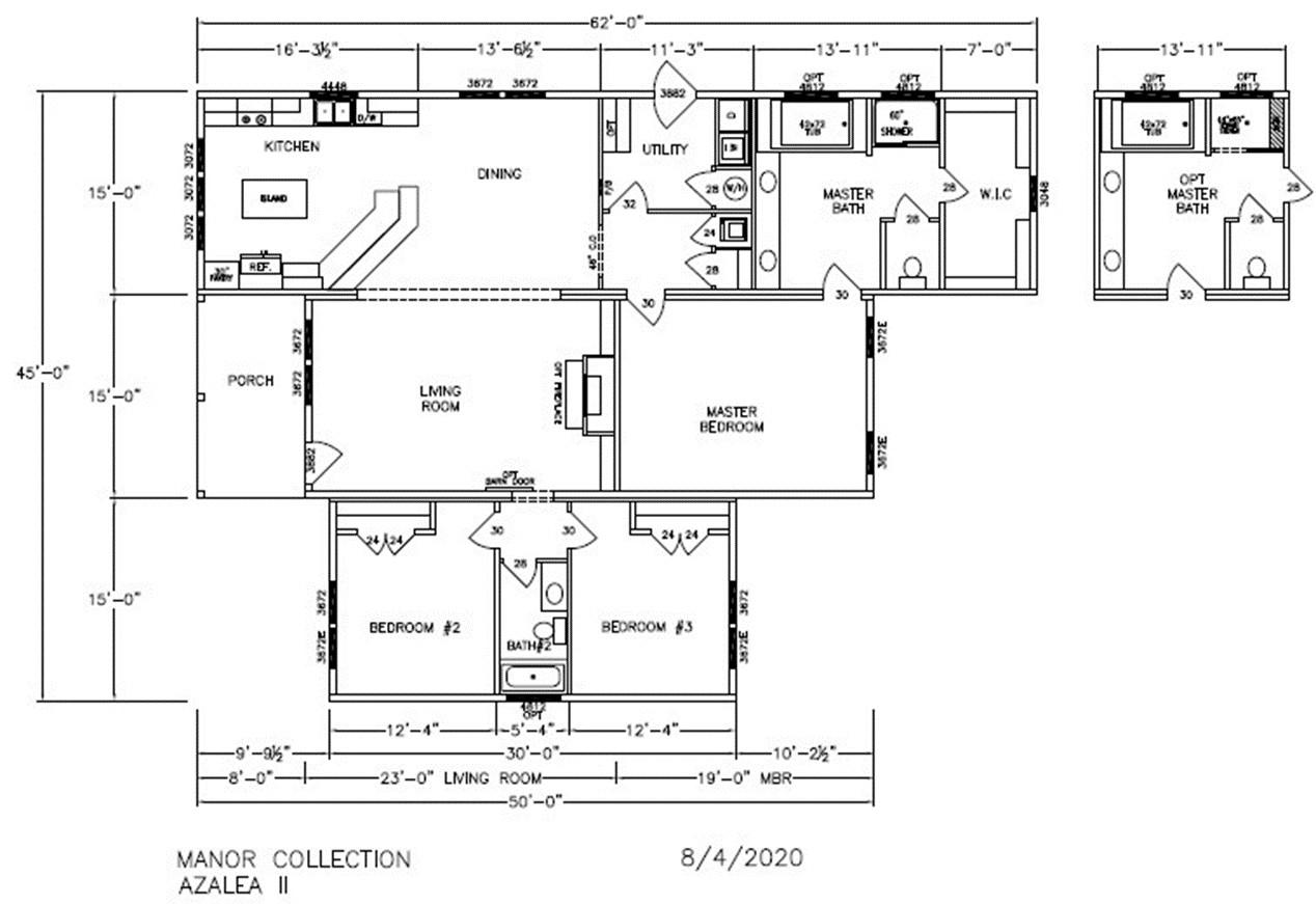 Azalea II Dimensioned Floorplan