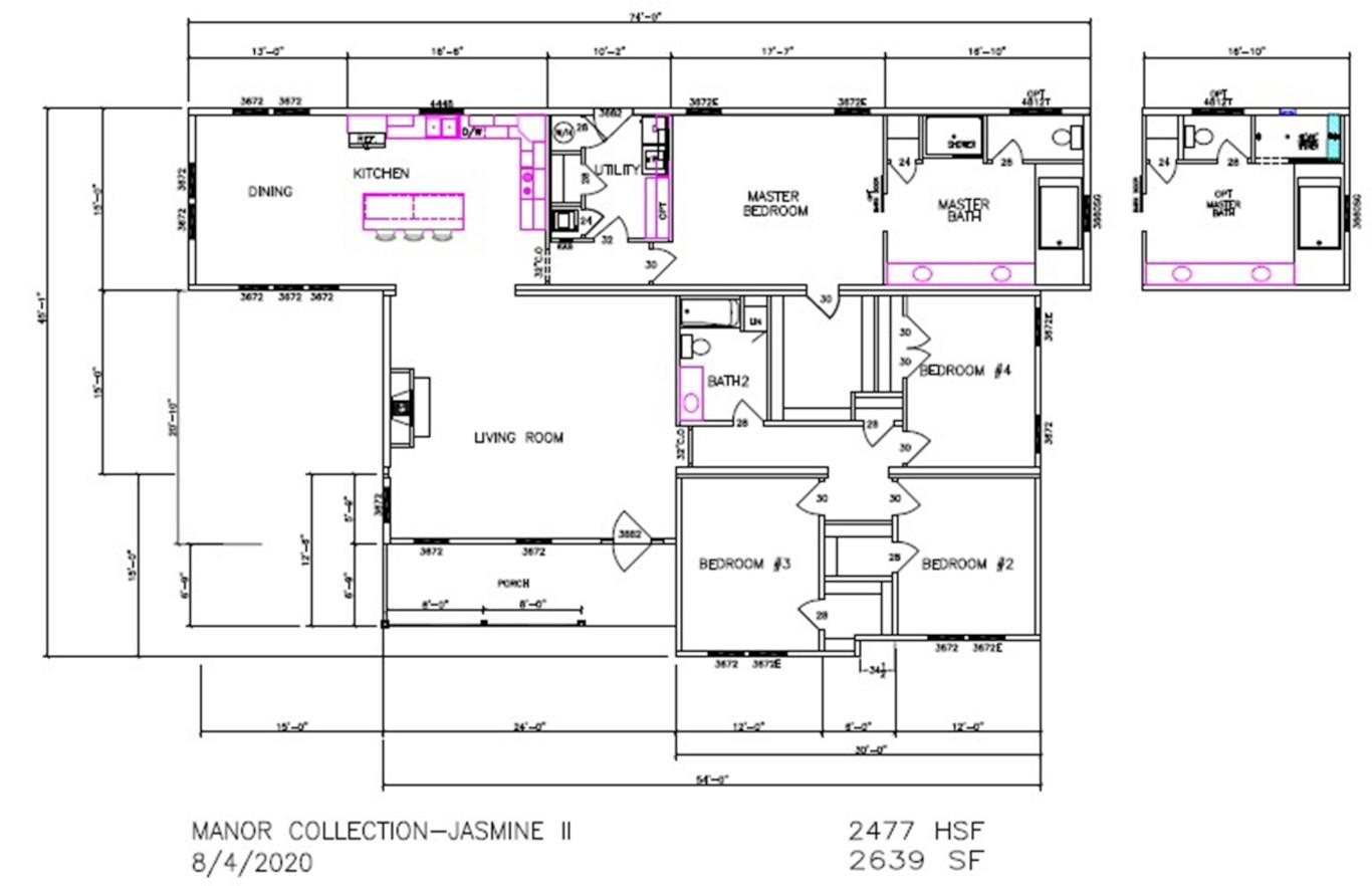 Jasmine II Dimensioned Floorplan