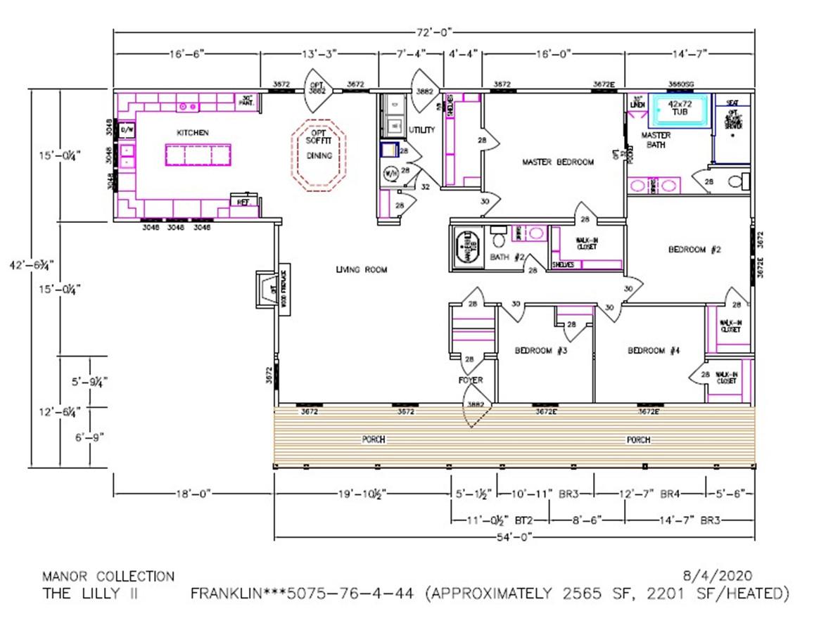 Lilly III Dimensioned Floorplan